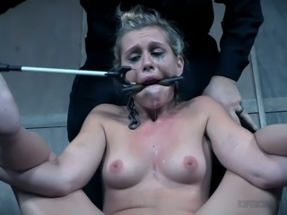 Submissive pale blondie is gagged and gotta have undergo some hard stuff