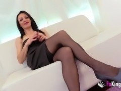 Horny chick in stockings has a good time with a big boner