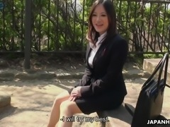 Palatable Japanese Ritsuko Tachibana comes to the office and masturbates