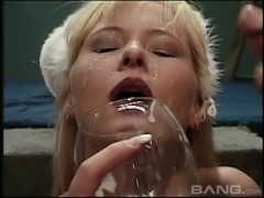 Wild bukkake party ends with her getting showered in sperm