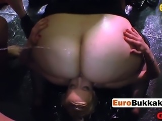 European horny chicks get pissed on