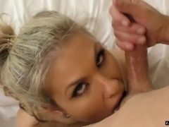 Gorgeous blonde Aubrey Addams offers her body to a fellow
