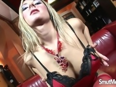 Sexy babe teases and a guy comes to massage her tits with oil