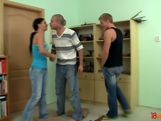 Blond BF uselessly watches the way his GF Kari is fucked on the floor