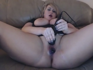 Chunky spoiled fatty with enormous tits uses a vibrator to pet her twat