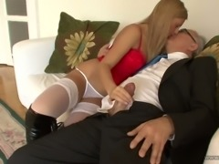 Young harlot in high knee boots gives blowjob to elder dude Jim Slip