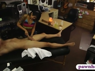 Skinny amateur Asian babe screwed by nasty pawn keeper