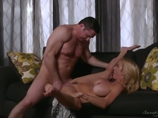 All natural huge breasted blonde cowgirl Alexis Fawx jumps on stiff dick