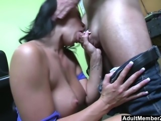Big titted Savannah Stern goes cock crazy after bieng picked up for audition