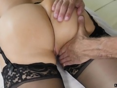 Gorgeous blonde Alena Croft takes off her dress for a fat cock