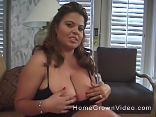 Amateur busty chick masturbates while milking a cock