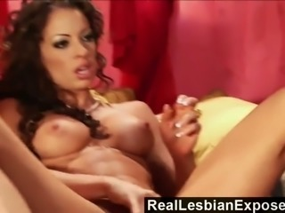 Sexy buxom lesbians with stunning titties are good at licking bald cunts