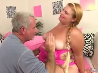 Grey haired buddy is greedy about eating meaty cunt of fatty Tiffany Star