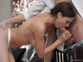 Tina Kay lets a handsome man penetrate her tight anal hole