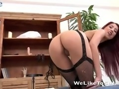 Fabulous and charming redhead Christy gives BJ and bends over to be fucked
