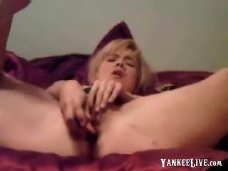 Teen blonde masturbates with giant vibrator