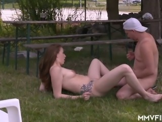 Long haired tattooed perverted nympho Marie Skyler rides dick outdoors