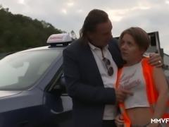 Fervent Ukrainian Sasha Zima provides her driving instructor with BJ
