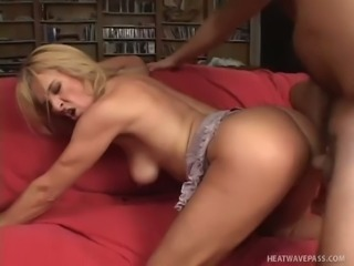 Erected cock penetrates lusty blonde housewife Mia's butthole