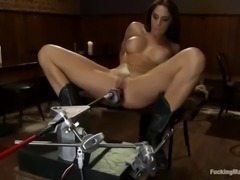 big boobed babe chanel preston rubs clit with vibrator and fucks a machine