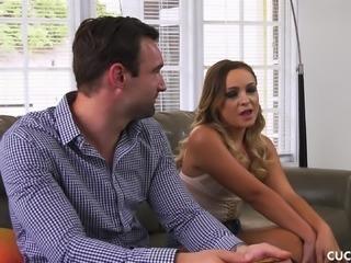 Cleo Vixen cuckolding her husband and receiving a sticky facial