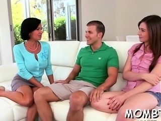Sexy mum and lusty honey are having wild fun with a cock