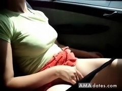 Erect boobed girl masturbates inside car