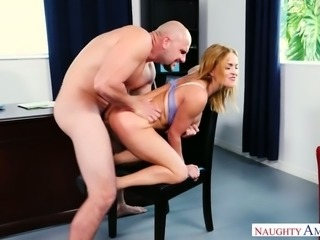 Well-packed light haired beauty Krissy Lynn gives BJ and gets hammered doggy