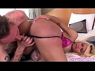 Amateur tranny titfucked and facialized