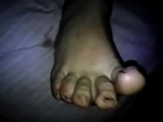 Quickly wife pretty footjob cum on feet.