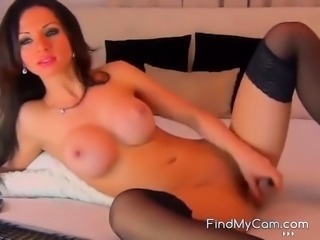 Smoking hot Russian woman shoves a toy up her slit