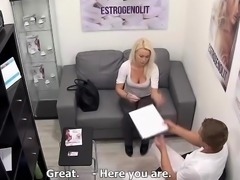 Big tits girl shows her tits to the doctor