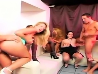 Orgy party with big natural tits babes