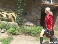 Country stud Oliver gets a blowjob from wrinkled village slut Claudia