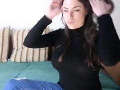 Hot Brunette Teen Striptease