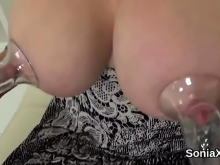 Unfaithful british milf lady sonia shows her enormous melons
