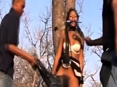 Hairy African slut got her cunt ravaged by white bulls