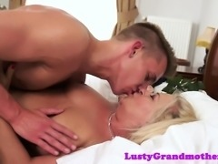 Busty amateur granny banged hard by young guy