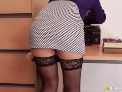 Quite attractive booty of lusty English office slut gets flashed at work