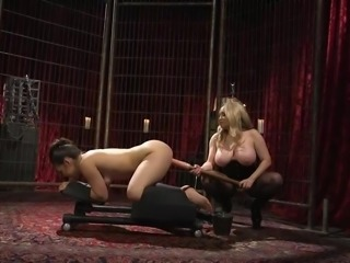 Busty milf, Aiden Starr, prefers to dominate her lesbian partners. This time brunette babe, Kimber Woods, is here in her dark dungeon, where she is placed on a special bondage device and will get her wet pussy fucked by a huge dildo... Join and have fun!
