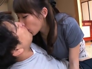Busty Japanese wife relinquishes her cunt to a hard pole