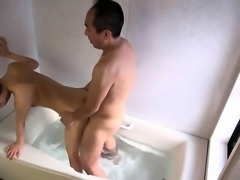 Petite Oriental schoolgirl has sex with a horny old man