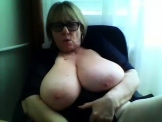 monster boobs gilf teases on webcam