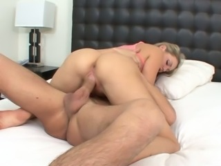 Lying on her belly pretty blondie Mia Malkova sucks her BF's dick