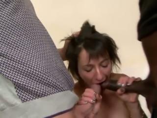 Before taking DP kinky big racked Zazala Coquine sucks two fat cocks