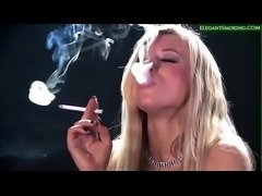 Blonde Hottie Michelle Moist Smoking All White 120s Cigarettes