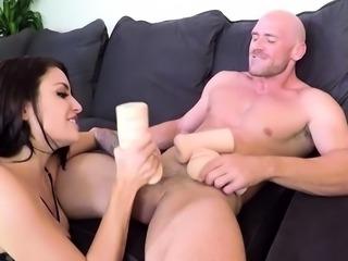 Brunette pornstar handjob with cumshot