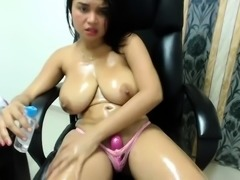 Milf with huge boobs masturbating on webcam
