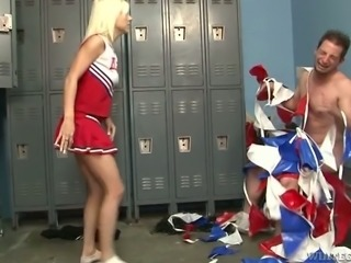 Dude gets kicked in the balls by one angry blondie wearing cheerleader uniform