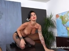 This horny brunette is one glamorous piss loving slut with a hot body